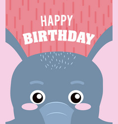 Elephant happy birthday card vector