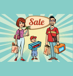 Family dad mom and son with shopping on sale vector