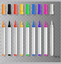 Felt tip pens colorful marker pens set vector