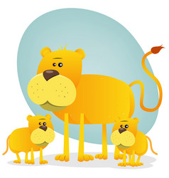 female lion and its babies vector image