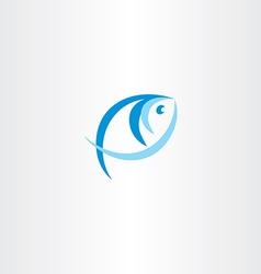 Fish logo stylized icon blue design element vector