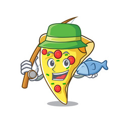 Fishing pizza slice mascot cartoon vector