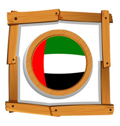 Flag of arab emirates on wooden frame vector