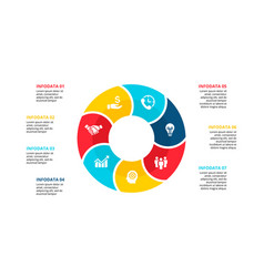 flat circle element for infographic with 7 vector image
