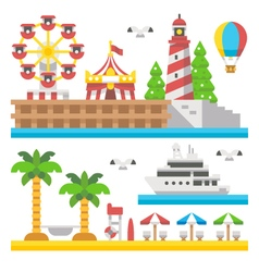 Flat design beach carnival park vector