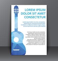 Flyer with polygonal guitar vector