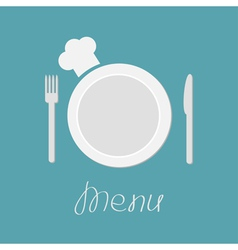 Fork plate knife and chefs hat Menu card flat vector image
