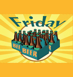 Friday and a lot beer vector