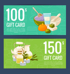 gift card templates with cartoon beauty and vector image