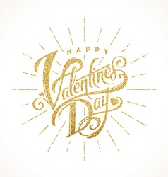 Glitter gold lettering happy valentines day vector