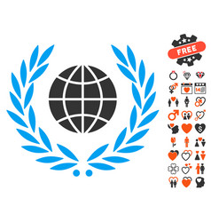Global emblem icon with dating bonus vector
