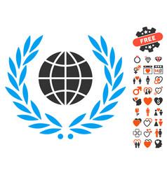 global emblem icon with dating bonus vector image