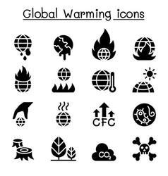 global warming icon set vector image
