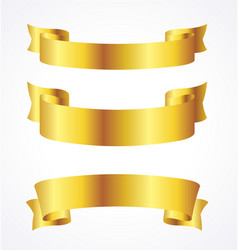 Gold ribbons banner flowing scroll blank vector