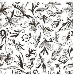 Graphic Black and White Pattern with Swirls vector image
