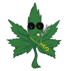 Green gangster marijuana leaf on white background vector