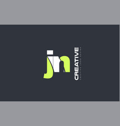 green letter jn j n combination logo icon company vector image