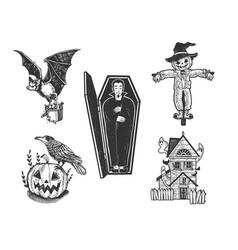 halloween attributes set line art sketch vector image