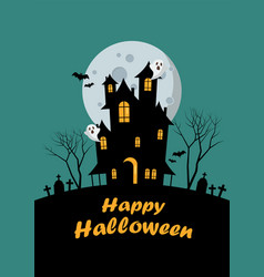 halloween family and haunted house greeting card vector image