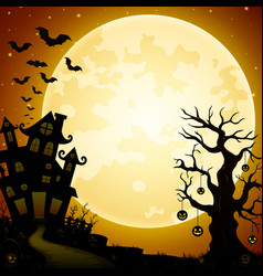 Halloween haunted castle with bats and pumpkins ha vector
