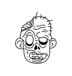 halloween zombie head cartoon vector image