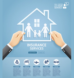 hand holding a paper family in house vector image