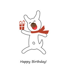 happy birthday card with dog vector image