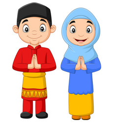 Happy muslim kids cartoon on white background vector