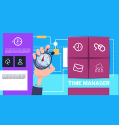 human hand hold stopwatch time manager shedule vector image