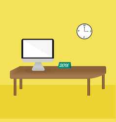 Imac in a simple office vector