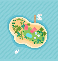 island top view beautiful vacation beach vector image
