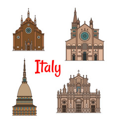italian travel landmark building icon set vector image