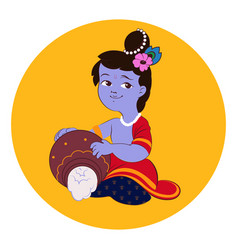 little baby lord krishna plays on flute vector image