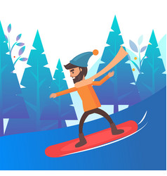 male skateboarder in mountains winter card vector image