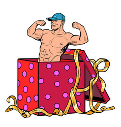 Male striptease surprise gift vector