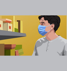 Man in white t-shirt wearing surgical mask looking vector