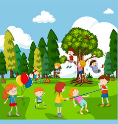 Many children playing games in park vector