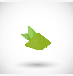 matcha tea powder with leaves flat icon vector image