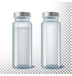 medical ampule 3d realistic transparent vector image
