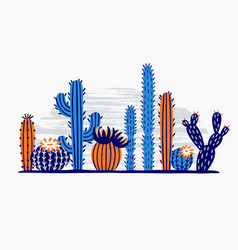 mexican desert cactus cactuses flower exotic vector image
