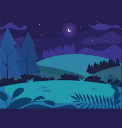 Night landscape with pines trees scene natural vector