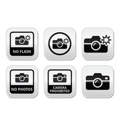 No photos no cameras no flash buttons vector image