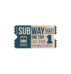 one trip subway ticket isolated passenger pass vector image