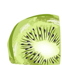 Pastel colored slice kiwi fruit hand drawn art vector