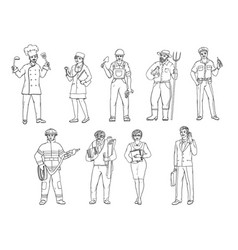 people of various professions in overalls and with vector image