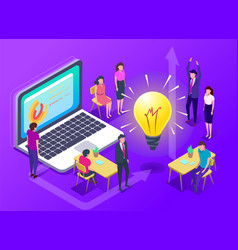 people work in a team and achieve goal vector image