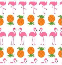 Pineapple pink flamingo icon set seamless pattern vector