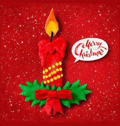 Plasticine figure of christmas candle vector