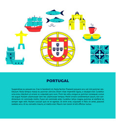portugal concept banner with icons in flat style vector image