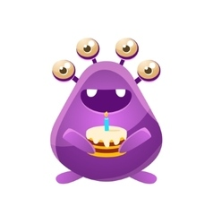 Purple toy monster with birthday cake vector